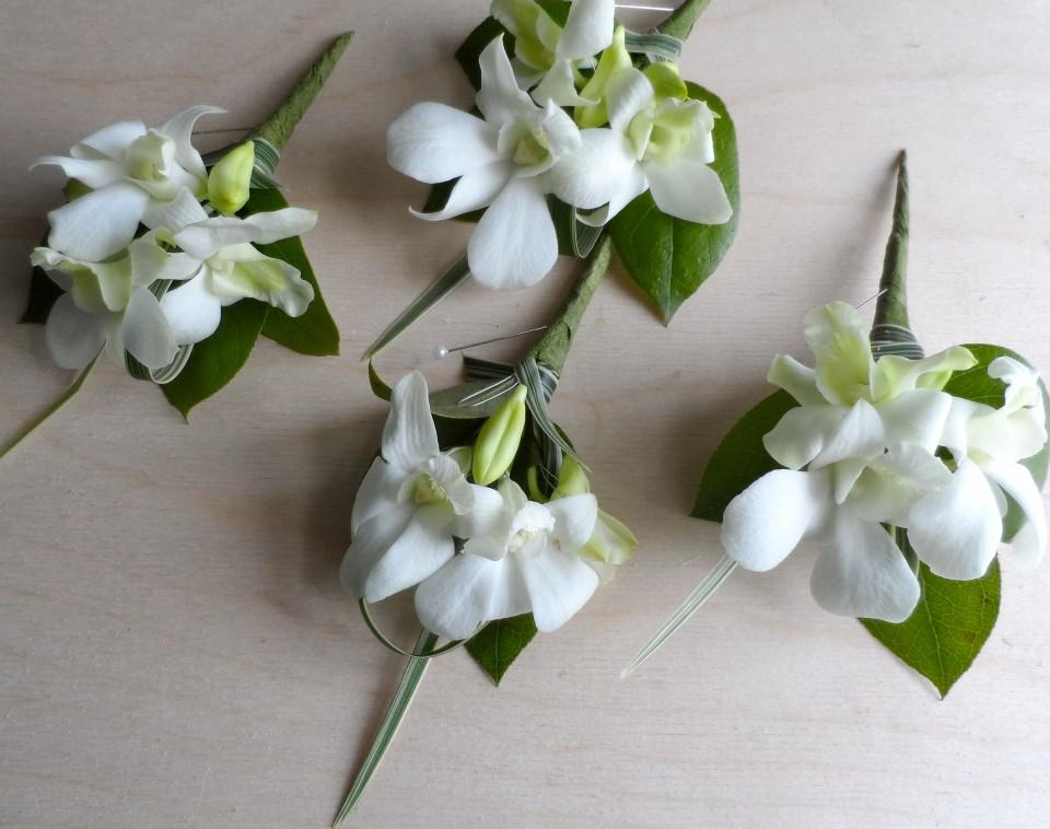 Wedding partnership ceremony dendrobium orchid buttonholes china grass